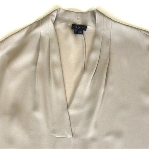 Theory Small Taupe V-Neck Silk Helona Blouse